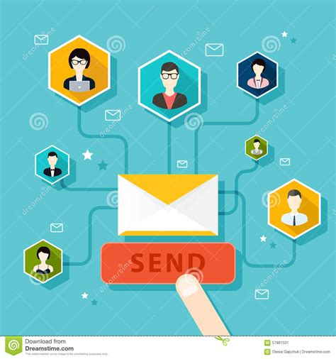 marketing concept of running email caign email