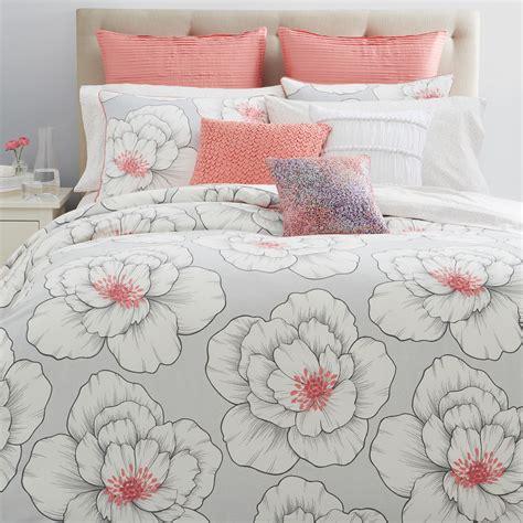 Coral And Grey Bedding Sets Sky Blossom King Comforter Set Coral Grey Msrp 315 Ebay