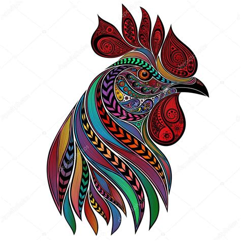 vector abstract colorful rooster new year 2017 stock