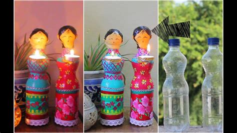 Home Decoration On Diwali Dolls Diya Using Plastic Bottles For Diwali Decorations