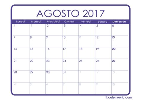 Calendario Lunare Agosto 2017 Calendario Agosto 2017 Calendari