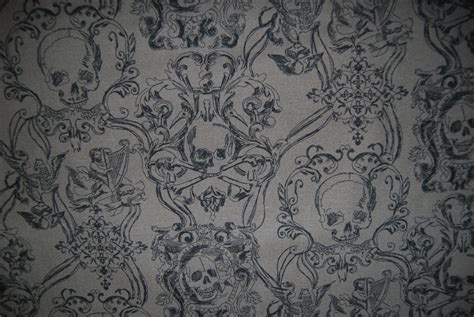 gothic upholstery fabric skull duggery charcole goth pirate skull and crossbones