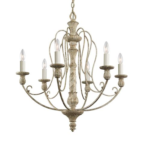 Chandeliers Lowes Shop Kichler Lighting Hayman Bay 6 Light Distressed Antique White Chandelier At Lowes
