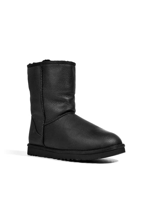 black leather ugg boots ugg leather classic boots in black in black for