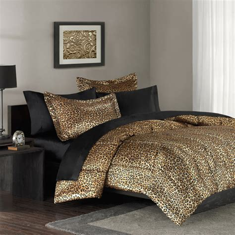 Cheetah Print Bed Set Mainstays Leopard Print Bedding Comforter Mini Set Walmart