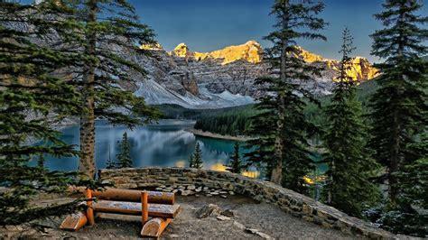 arbres des forêts du Canada Lac Maligne sommets enneigés