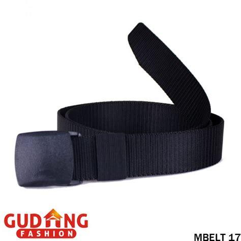 Belt Hitam Putih ikat pinggang webbing belt pria tali canvas kepala plastik hitam mbelt 17 gudang fashion