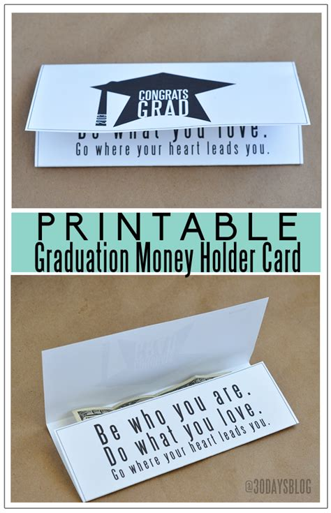 money holder card template printable graduation money holder card
