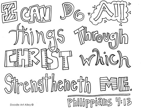 Coloring Page For Philippians 4 13 by Phil 4 13 Coloring Page Doodle Color Draw