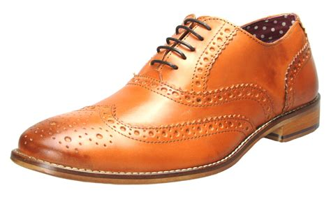 brogues mens leather lace up wingtip formal gatsby