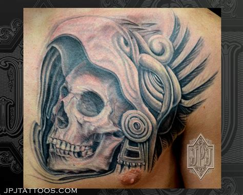 aztec skull tattoos aztec skull by jose perez jr tattoonow