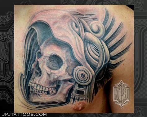 aztec skull tattoo aztec skull by jose perez jr tattoonow