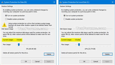 tutorial restore windows 10 delete system restore points in windows 10 windows 10