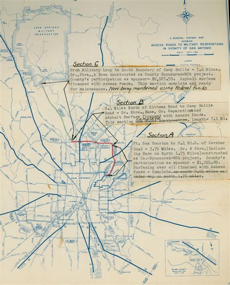 fort sam houston map fort sam houston access road map april 1943 tslac