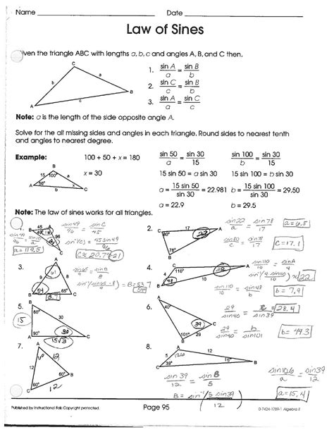 Of Cosines Practice Worksheet by Worksheet Of Cosines Worksheet Caytailoc Free