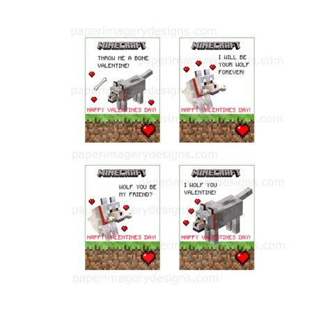 Minecraft Gift Card Price - minecraft wolf valentines day cards for 5 00 valentines day cards
