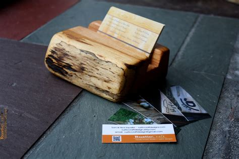 Handmade Office Gifts - wood business card holder rustic live edges unique