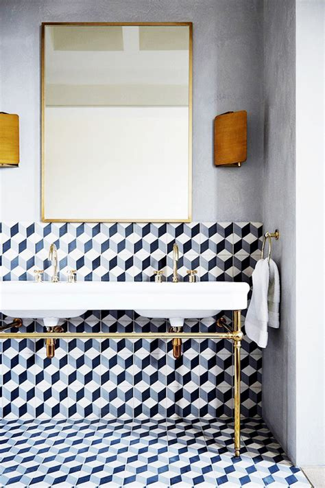 designer bathroom tile geometric tiles with sink tile mountain