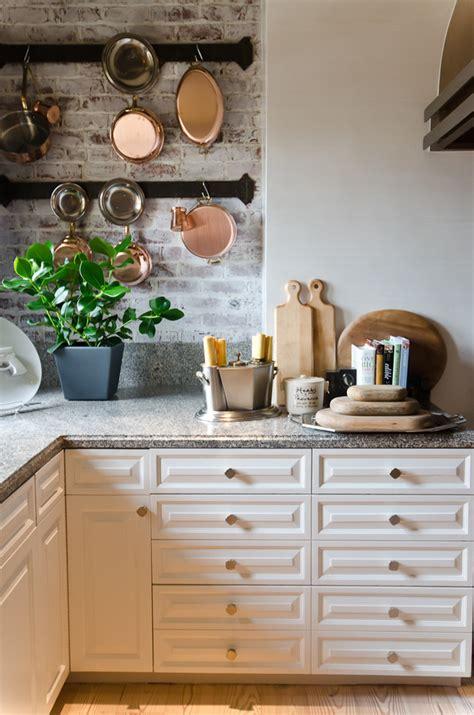 brick backsplash kitchen ideas fanabis impressive wall mounted pot rack in kitchen traditional