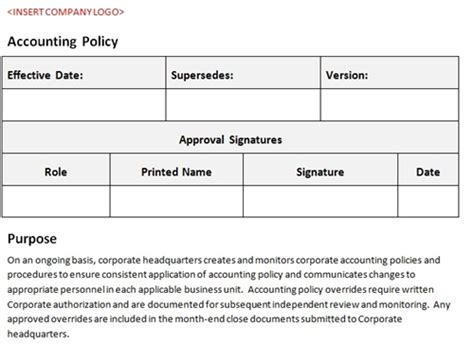Accounting Policy Template Accounting Template Accounting Sop Template
