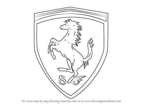 Learn How To Draw Ferrari Logo Brand Logos Step By Step