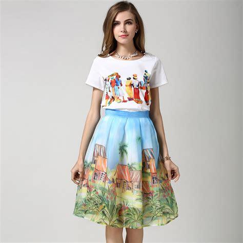 2 piece skirt set women chiffon skirt suit for women 2016 aummer style knee length