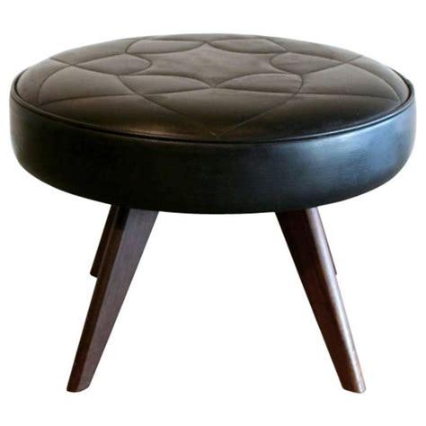 black round ottoman vintage danish black leather round ottoman at 1stdibs