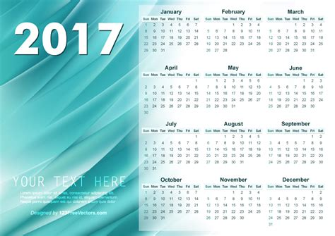 illustrator calendar template illustrator 2017 calendar template 123freevectors