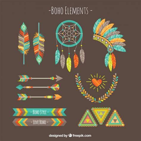 boho colors colored boho element set vector free