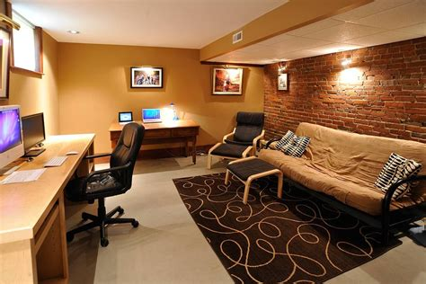 cool basement office concept home