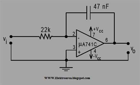 integrator circuit using op 741 rangkaian integrator op 741 koleksi skema rangkaian artikel elektronika