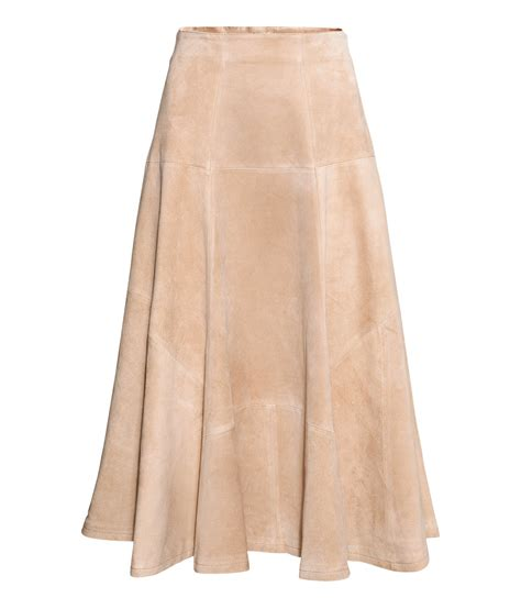 h m suede skirt in lyst
