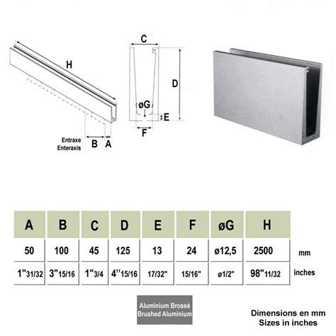 Profil Aluminium Garde Corps 4677 by Profil Aluminium Rail Pour Plaque De Verre Fixation Au Sol