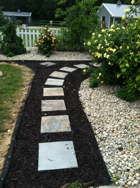 image result for stone paver and mulch pathway landscape