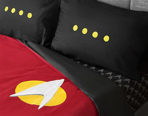star trek comforter star trek tng uniform bedding set thinkgeek