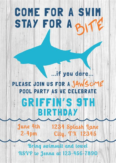 Come With Me Pool Invites by Shark Birthday Invitation Swim Pool By