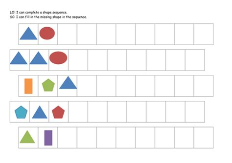 continuing patterns ks1 shape ks1 year 1 2 shape and colour patterns complete the