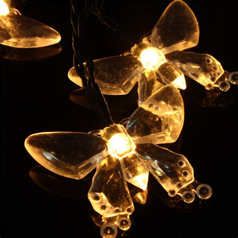 Dragonfly String Lights Outdoor Set Of 20 Solar String Dragonfly Butterfly Garden Lights Led Lanterns