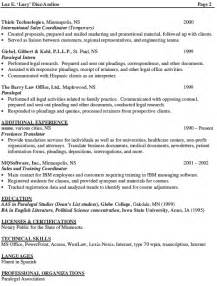 personal injury paralegal resume sle litigation paralegal resume template