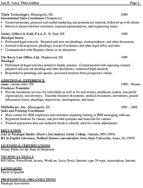 paralegal resume objective examples for summary with - Immigration Paralegal Resume Sample