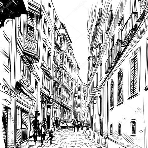 street sketchbook street graphics stadt hand gezeichnet stra 223 e skizze vektor illustration stockvektor 85513534