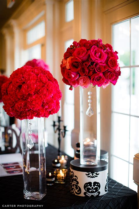 rose themes new carnation and rose spheres on tall vases with a chic touch