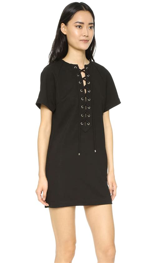 Factory Dress factory lace up dress in lyst