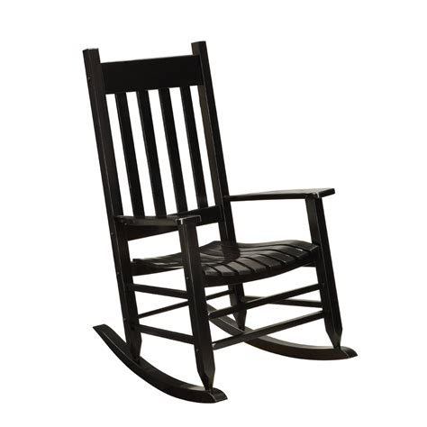 Rocking Garden Chair Shop Garden Treasures Black Wood Slat Seat Outdoor Rocking Chair At Lowes