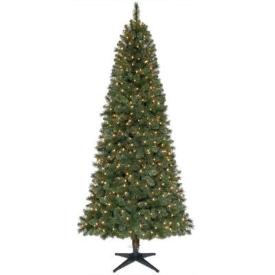15 ft pre lit led wesley pine artificial christmas tree home accents 7 5 ft wesley mixed spruce set slim artificial tree with