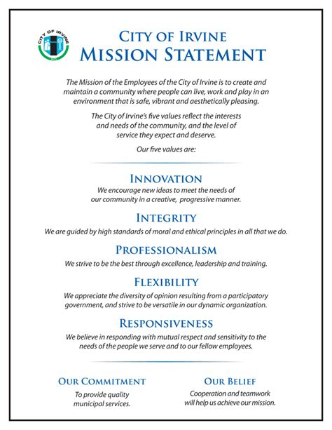 public transport council mission vision and values mission statement city of irvine