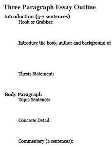 How To Write Three Paragraph Essay by Three Paragraph Essay Outline Freeology