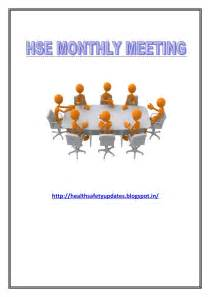Hse Report Template by Hse Monthly Meeting Sle Format