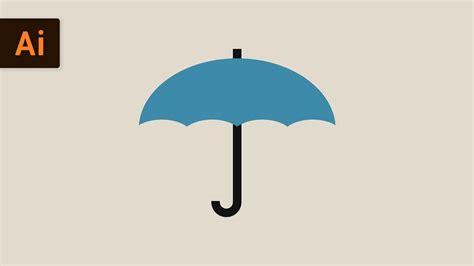 Draw Umbrella Illustrator | how to draw an umbrella flat design illustrator tutorial