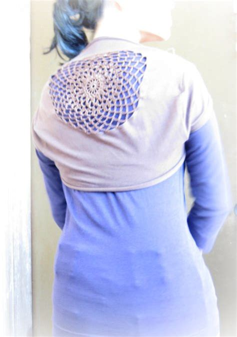 t shirt shrug pattern t shirt shrug with crochet insert sewing projects